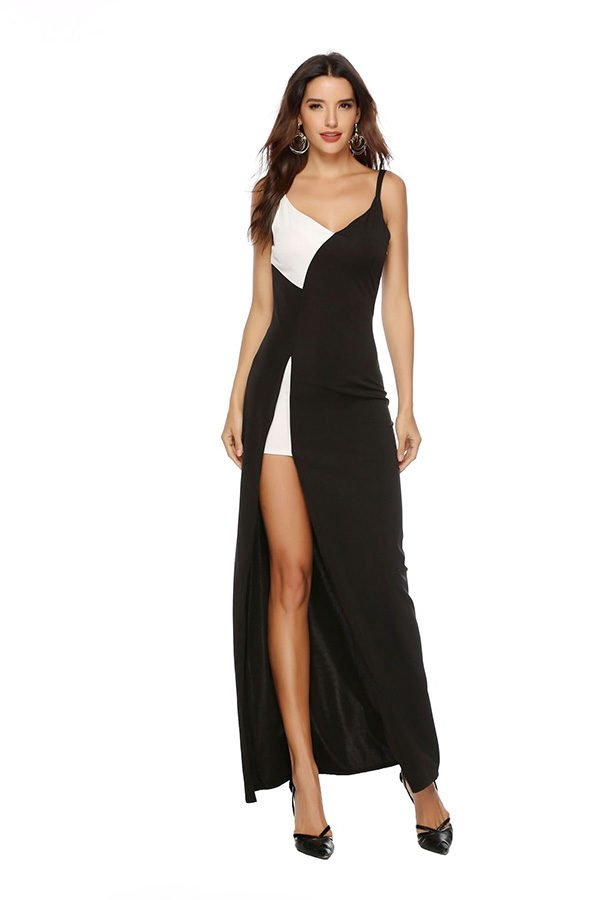 Hualong Sexy Strap Side Split Black And White Party Dresses