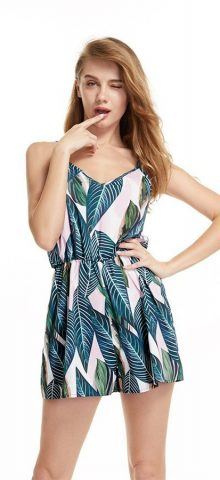 Hualong Sexy Strap Sleeveless Printed Summer Rompers