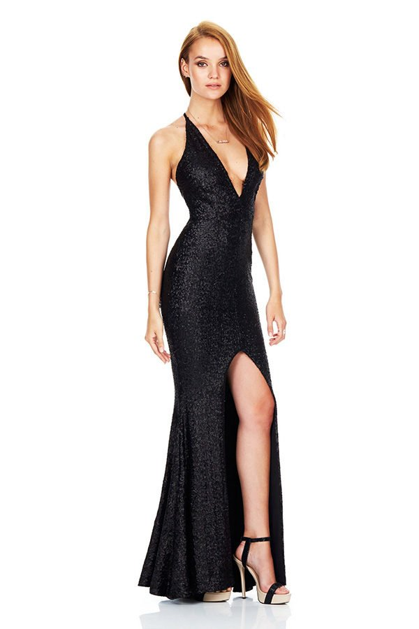 Hualong Sexy Strap Sleeveless Split Black Sequin Evening Dress