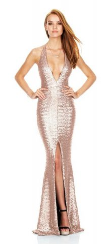 Hualong Sexy Strap Sleeveless Split Champagne Sequin Evening Dress