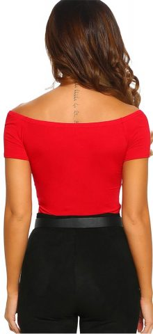Hualong Sexy V Neck Red Short Sleeve Bodysuit