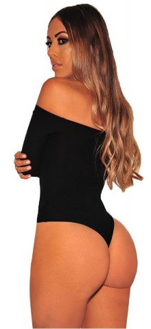 Hulaong Sexy Button Up Off Shoulder Black Long Sleeve Bodysuit