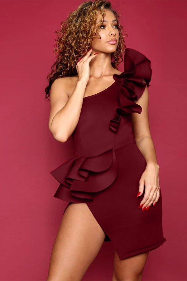 Hulong Club Sexy One Shoulder Burgundy Midi Dress