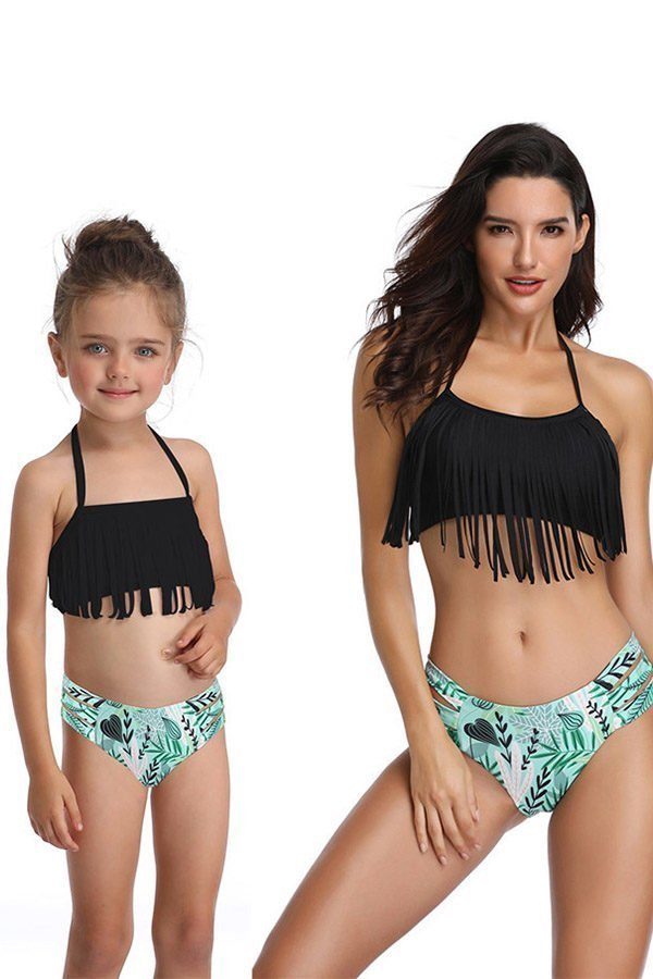 Hualong Cute Fringe Mother And Daughter Bathing Suits