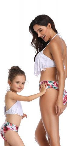 Hualong Cute Fringe Two Pieces Mother And Daughter Swimwear