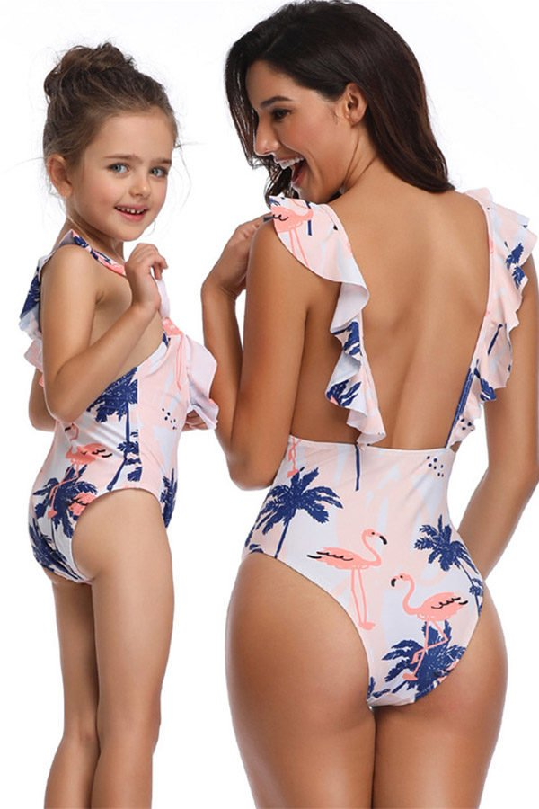 Hualong Cute One Pieces Printed Mother And Daughter Swimsuits