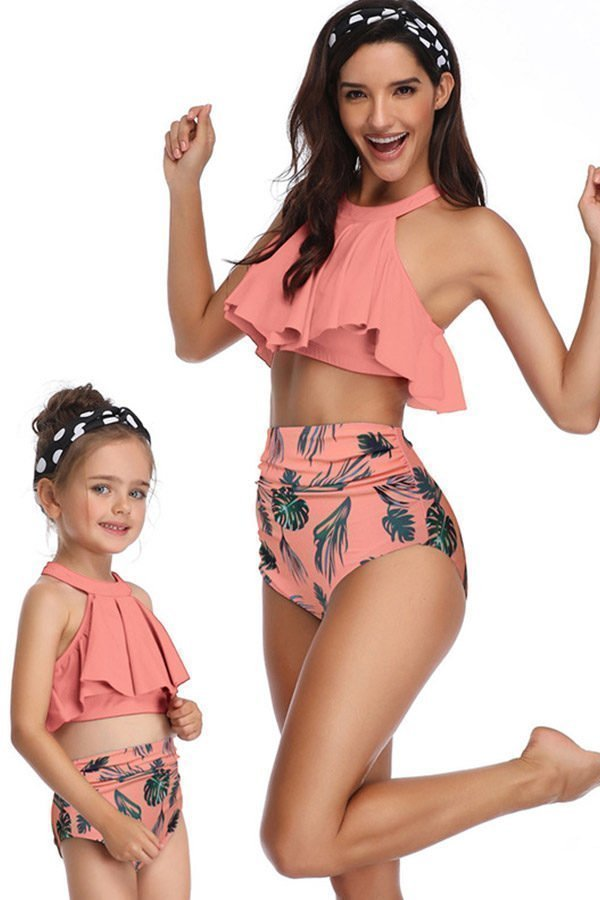 Hualong Cute Pink Printed Mother And Daughter swimsuits
