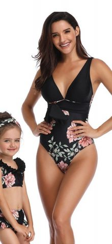 Hualong Cute Printed Matching Bathing Suits For Mother And Daughter