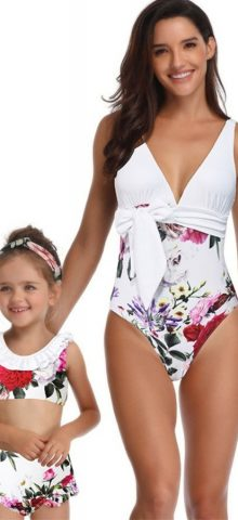 Hualong Cute Printed Mother And Daughter Matching Swimsuits