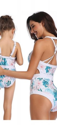 Hualong Cute Printed One Piece Mom And Daughter Matching Swimwear