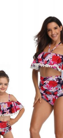 Hualong Cute Printed Two Pieces Mom And Baby Matching Bathing Suits