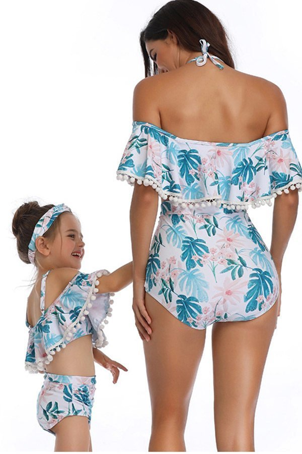 Hualong Cute Printed Two Pieces Mommy Daughter Matching Swimsuits