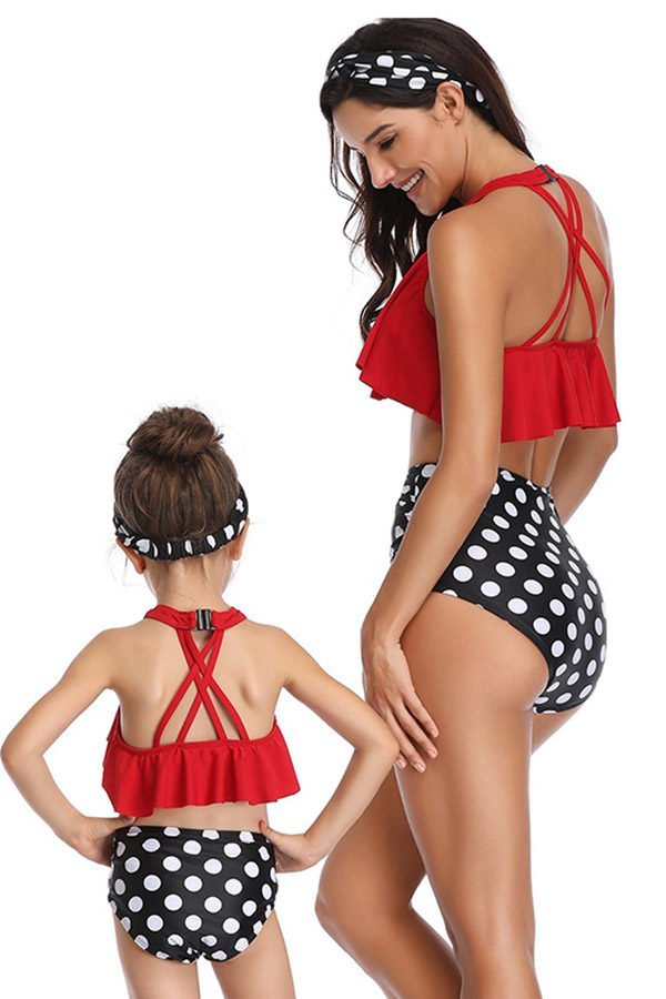 Hualong Cute Sumer Mom Daughter Matching Bathing Suits