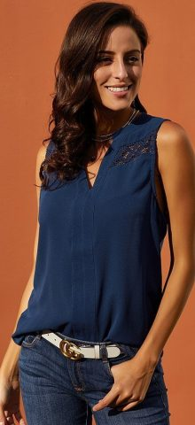 Hualong Cute Summer Crochet Blue Sleeveless Top