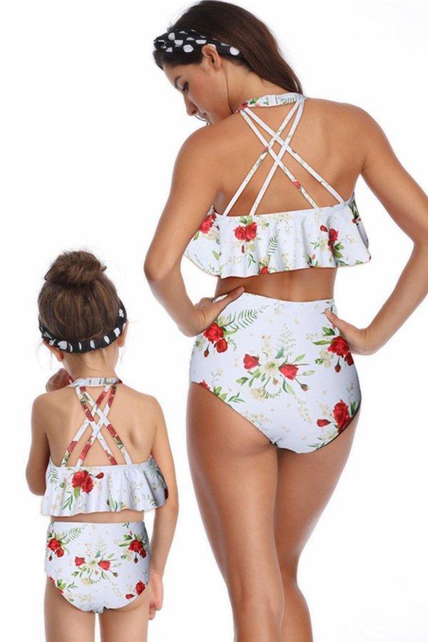 Hualong Cute White Floral Printed Mother Daughter Bikini