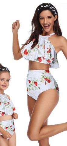Hualong Cute White Floral Printed Mother Daughter Bikini
