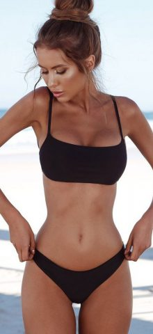 Hualong Freedom Summer Black Padded Cute 2 Piece Bathing suits
