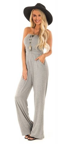 0caa3c09ee8 ... Hualong Gray Wide Leg Casual Strapless Jumpsuit