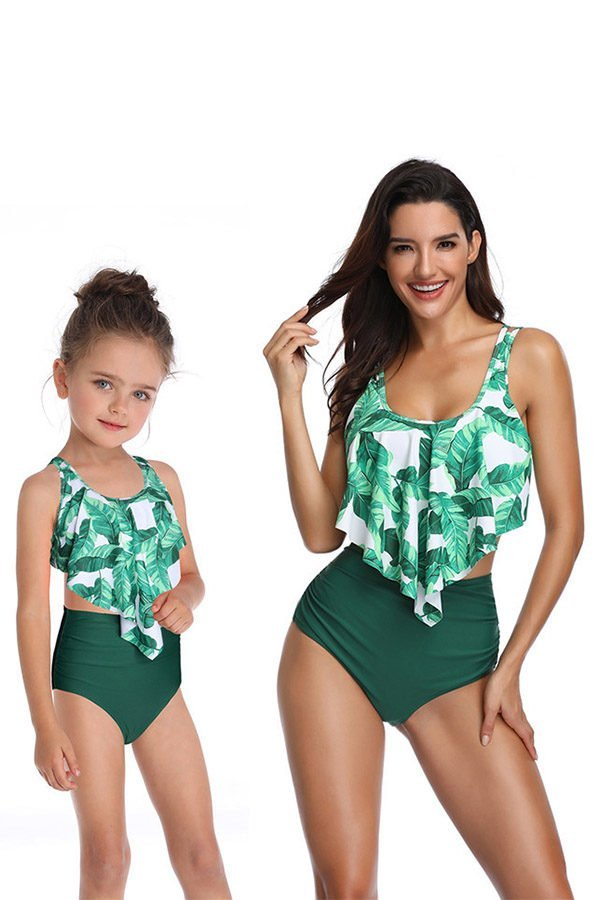 1979db2a24d62 Hualong High Waist Green Printed Mom And Daughter Matching Swimsuits