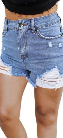 Hualong Light Blue Distressed High Waisted Denim Shorts