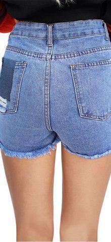 Hualong Light Blue Distressed High Waisted Denim Shorts