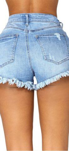 Hualong Light Blue High Waist High Rise Denim Shorts