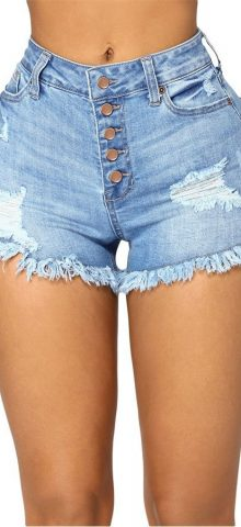 Hualong Light Blue High Waist High Rise Denim Shorts