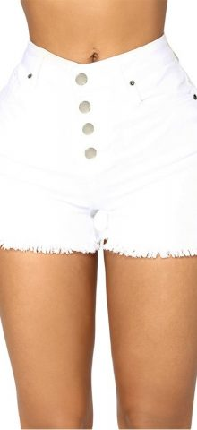 Hualong Sexy High Rise High Waist White Denim Shorts