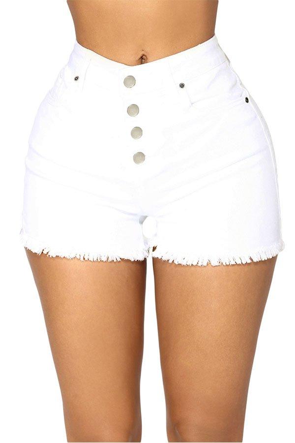 Hualong Sexy High Rise High Waist White Denim Shorts