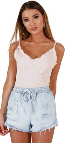 Hualong Sexy Light Blue Distressed Cut Off Jean Shorts