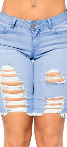 Hualong Sexy Light Blue Ripped Ladies Denim Shorts