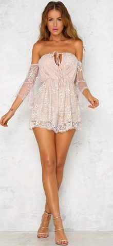 Hualong Sexy Off The Shoulder Backless Sequin Rompers