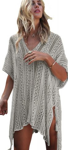 Hualong Sexy Summer Gray Knitted Crochet Beach Cover Up