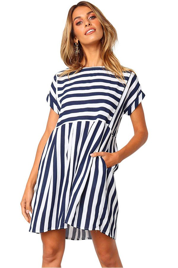 0cd3b3632 Hualong Short Sleeve Navy And White Striped Dress - Online Store for ...