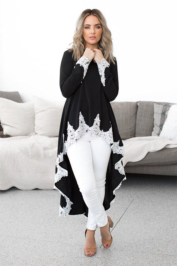 Hualong Summer Cute Long Sleeve Lace Slip Dress