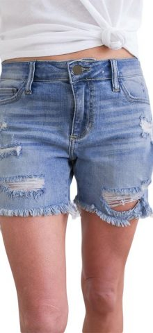 Hualong Wash Blue Color Distressed Denim Shorts