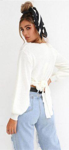 Hualong White Deep V Neck Long Sleeve Womens Knit Tops