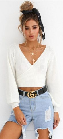 Hualong White Deep V Neck Long Sleeve Womens Knit Tops