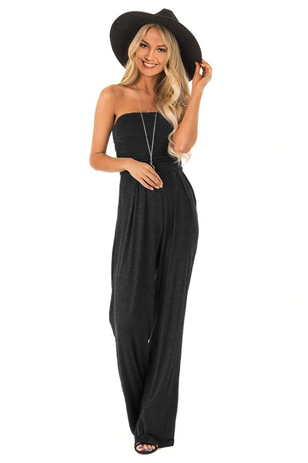 a7d3ae56c8e Hualong Wide Leg Strapless Casual Black Jumpsuit - Online Store for ...
