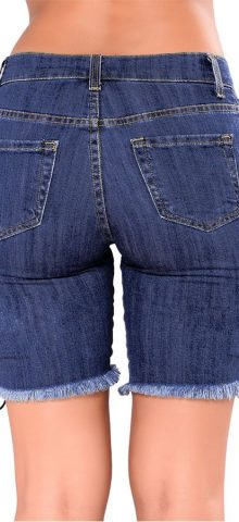 Hualong Women Sexy Dark Blue Ripped Jean Shorts