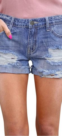 Hualong Women Sexy Light Blue Ripped Denim Shorts