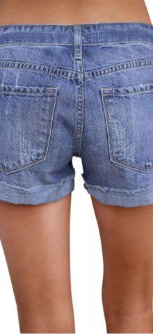 Hualong Women Sexy Light Blue Ripped Denim Shorts