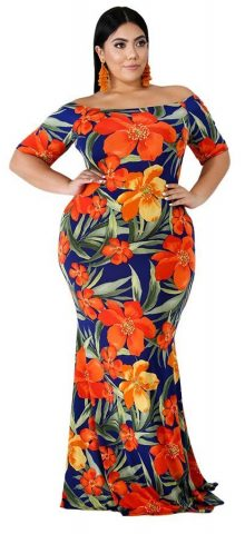 Hualong Women Short Sleeve Floral Printed Plus Size Mermaid Dress