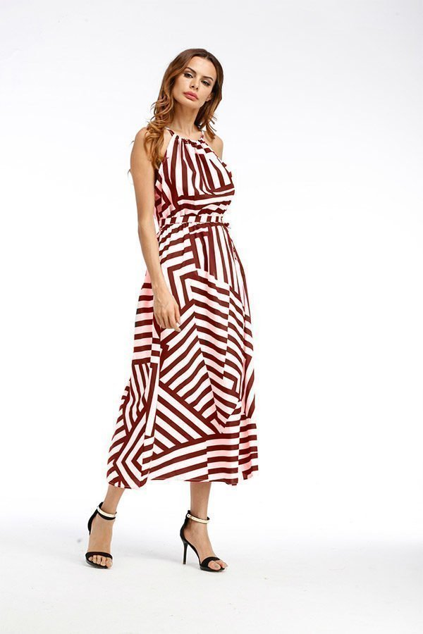 77cc614c55 Red And White Striped Maxi Dress with free shipping and over 55% OFF ...