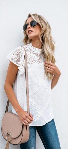 Hualong Cute Summer O Neck White Short Sleeve Lace Blouse