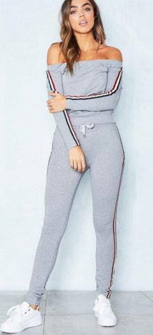 Hualong Off The Shoulder Long Sleeve Gray Women's Activewear Sets