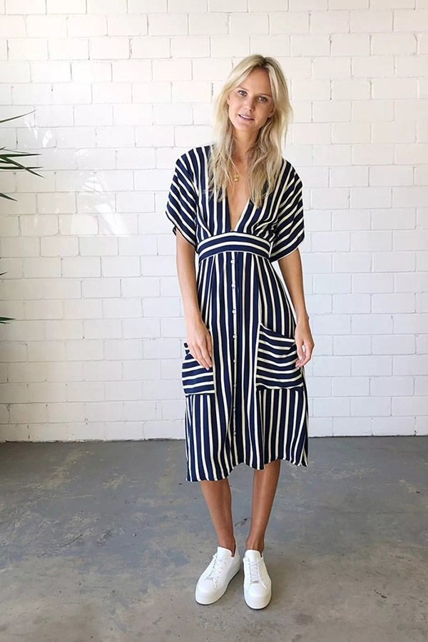 Hualong Sexy Deep V Neck Blue White Striped Dress