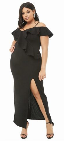 Hualong Sexy Off The Shoulder Black Plus Size Ruffle Dress