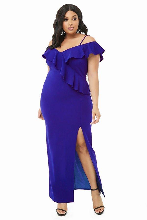 Hualong Sexy Off The Shoulder Black Plus Size Ruffle Dress