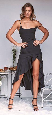 Hualong Sexy Strap Flounce Black Sleeveless Cocktail Dresses